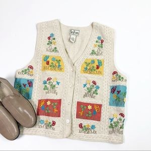 Tantrums| Women's Embroidered Floral Vest Size M